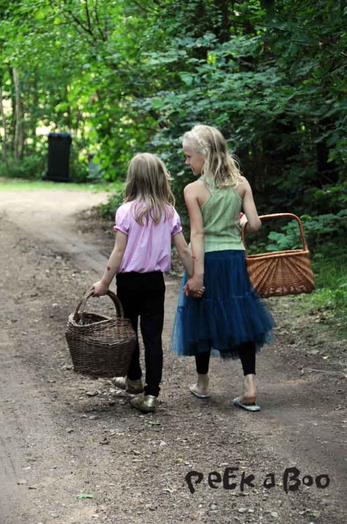 pigerne på vej ned efter hyld.