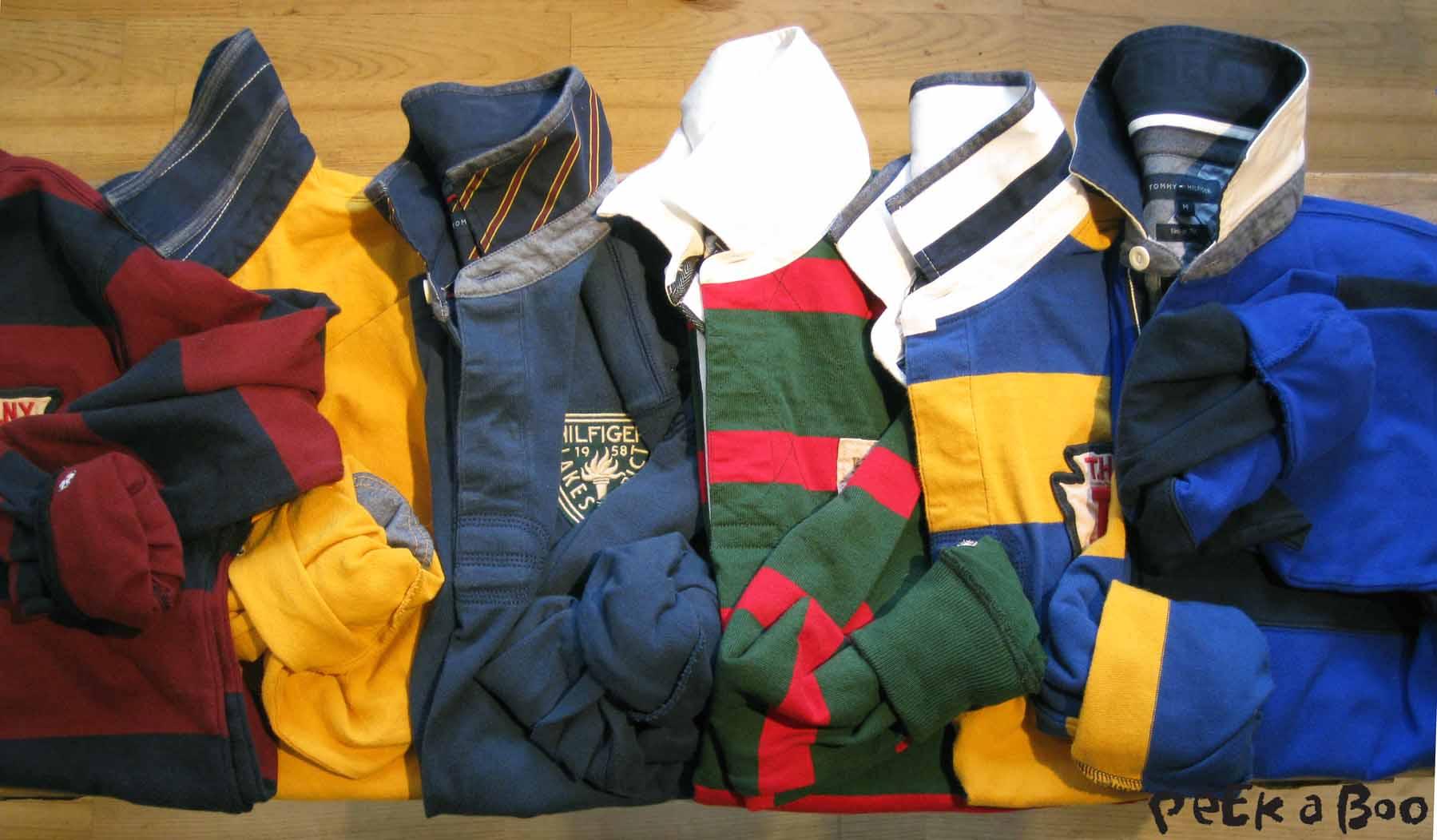 Rugby trøjerne som SKAL være med i Hilfiger's kollektioner...flotte farver og sporty striber...