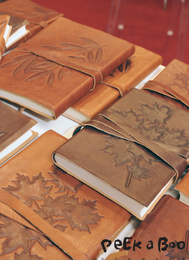 leather notebook with leaf stamp. Seen at Paper World Frankfurt 2015.