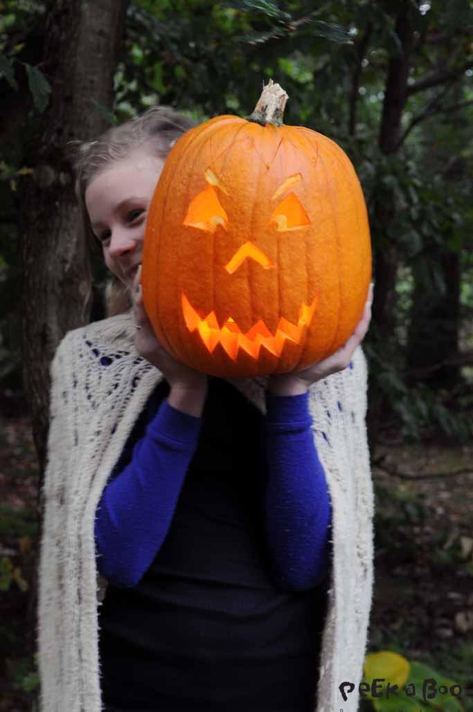 Ella with our Jack O'Lantern.