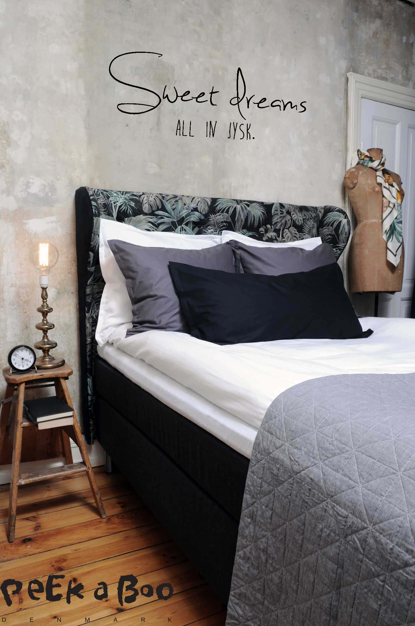 The final look of our new bed from JYSK and my DIY headboard.