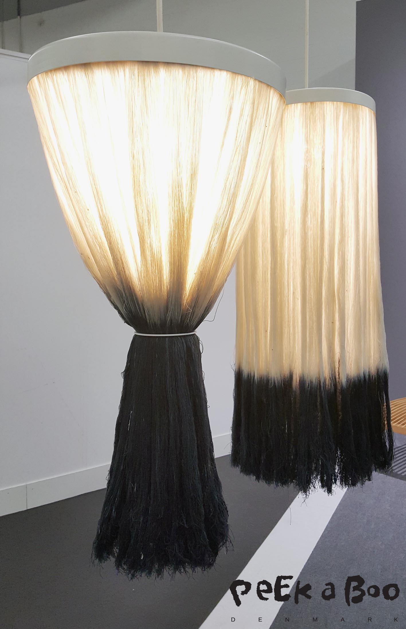 Fringe lamp designed of scrap industrial yarn by Katrin Krupka from Fachhochschule Potsdam, Germany.