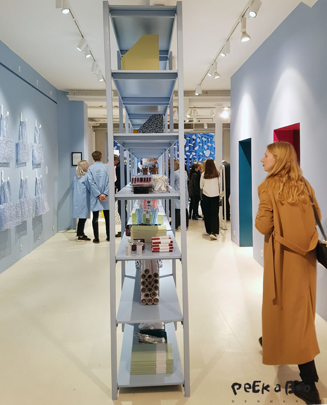 The light blue colour that dominates the Daily Fiction collection. here seen at the opening in Normann Copenhagen Flagship store.