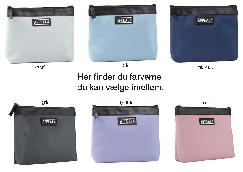 Valgmuligheder for farven på appeal4 toilettasken.