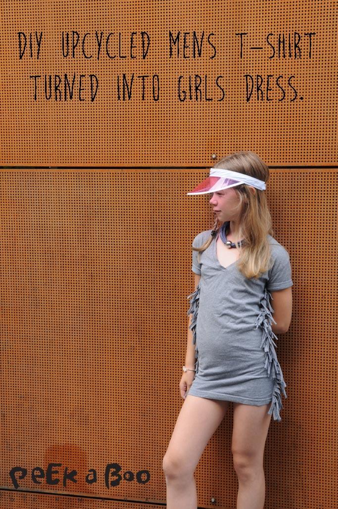 DIY fringe dress made out of a mens t-shirt.