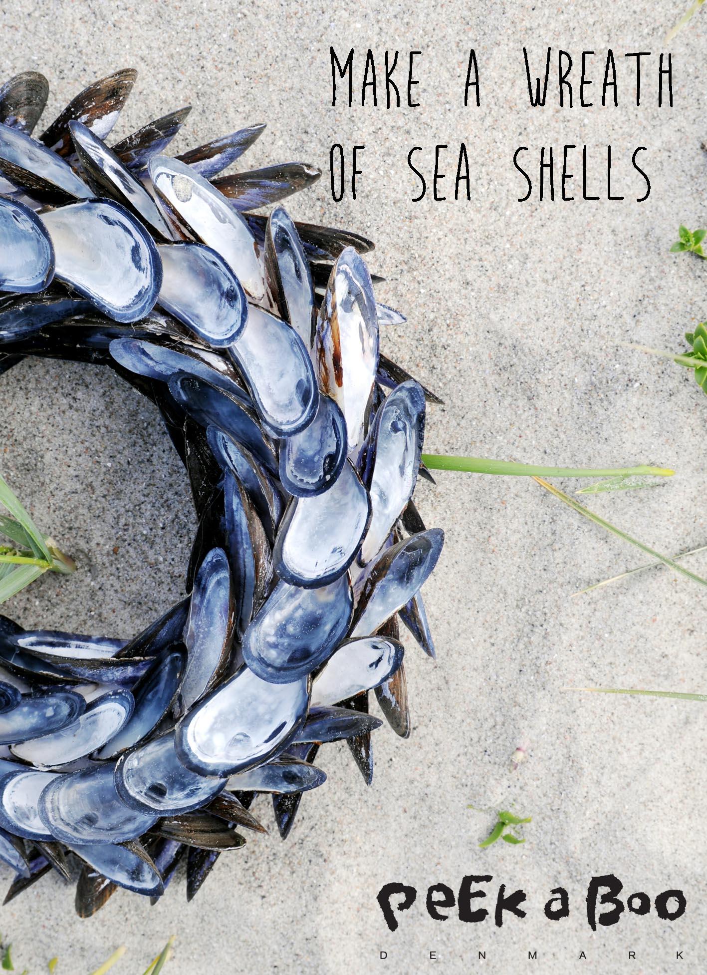"DIY wreath made of seashells from the book ""Kreative ferieidéer til en sjov SOMMER"""