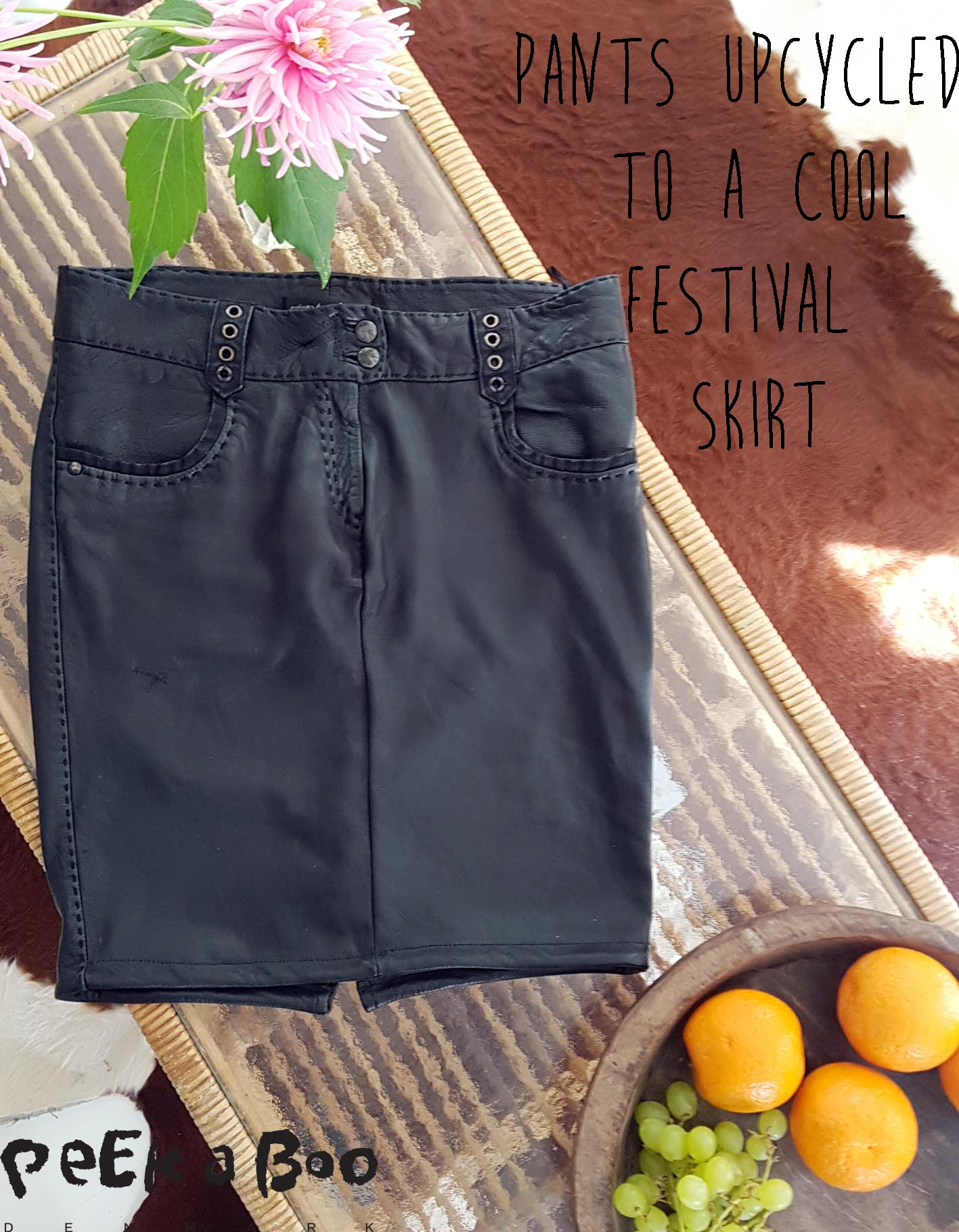 upcycled leather pants, now a cool leather skirt...
