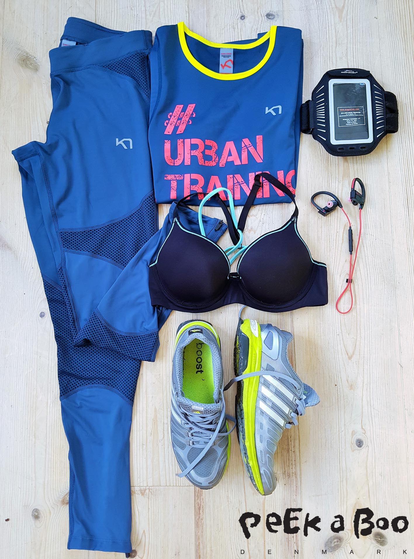 Todays training gear. Top and leggings from Kari Traa, bra from Casall, sneakers from Adidas boost, arm pocket for my Samsung 7 edge from Armpocket and when I run alone I can't run without music in my ears and for this I use wireless headset  from Jabra Sports pace.