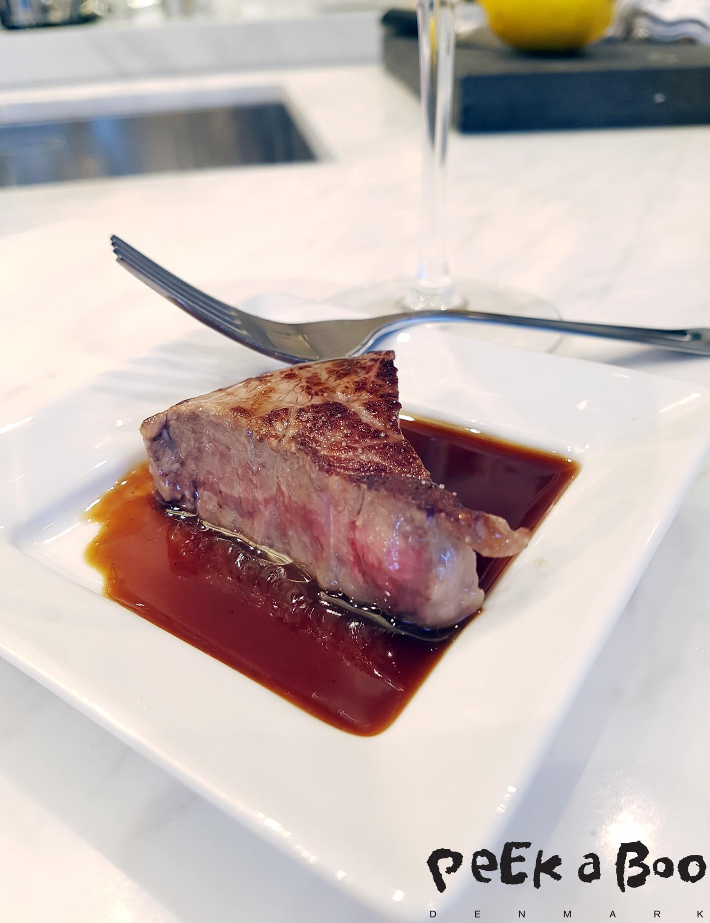 Wagyu steak with truffle glace and thyme oil....that is so incredible good.